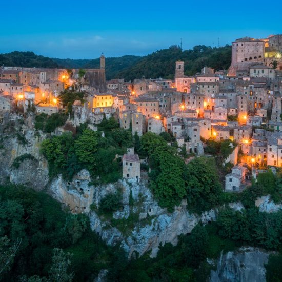 Panoramic sight of Sorano in the evening, in the Province of Gro